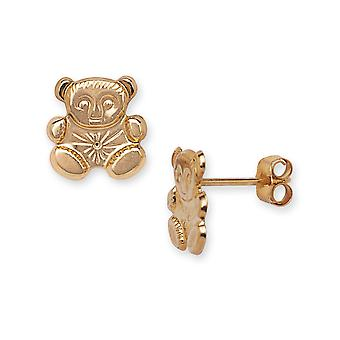 14k Yellow Gold Teddy Bear Stamping for boys or girls Earrings - Measures 9x9mm