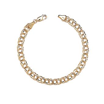 10k Yellow Gold High Polished Solid Double Link Charm Bracelet (0.22