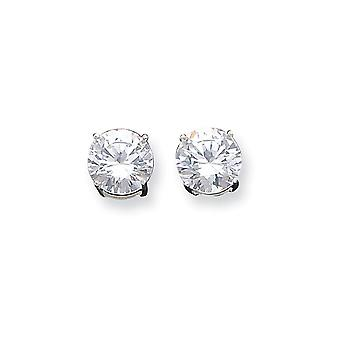 925 Sterling Silver White Synthetic Cubic Zirconia Basket Round Stud Earrings