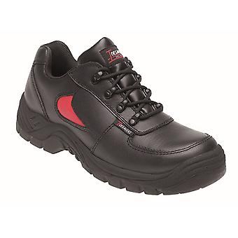 Himalayan Black/Red Leather Safety Trainer 3413 with Dual Density Sole & Midsole