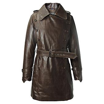 Woman's Marble Brown Vintage Leather Coat