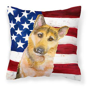 German Shepherd #2 Patriotic Fabric Decorative Pillow