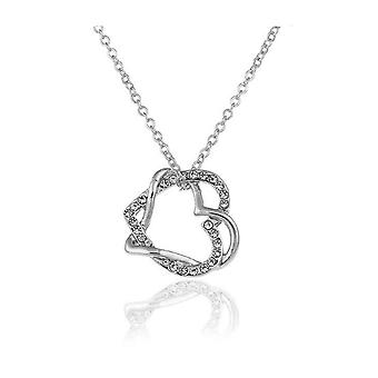 Lady Silver Double Heart Jewellery Love Necklace