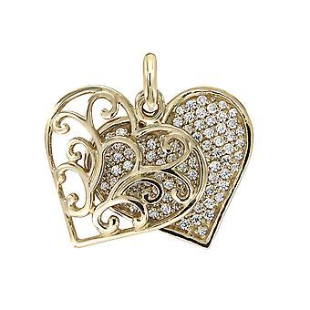 Goldenes Herz und Silber 925 Anhänger mit weißen Swarovski-Kristallen geschmückt