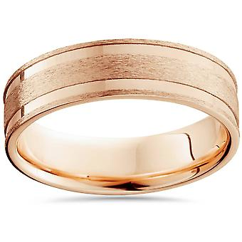6mm 14K Rose Gold Brushed Double Inlay Wedding Band