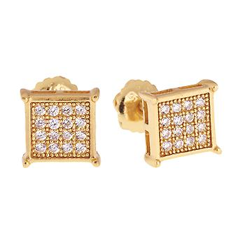925 sterling silver MICRO PAVE earrings - SQR 7 mm gold