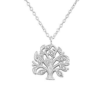 Tree Of Life - 925 Sterling Silver Jewelled Necklaces - W35133x