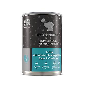Billy + Margot nahrhafte komplett nass Hundefutter - Türkei-395 g Dose x 12