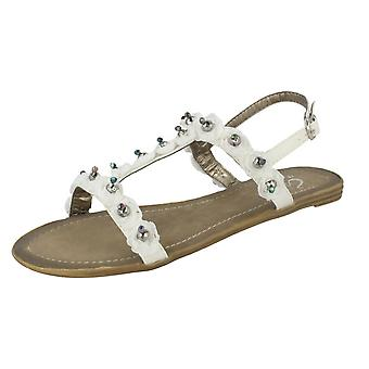 Ladies Spot On Beaded Flower Sandal A13 - White Textile - UK Size 4 - EU Size 37 - US Size 6