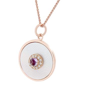 Orphelia Silver 925 Chain With Pendant Small Circle Rosegold Plated Mop With Central Purple Zirconim  ZH-7293