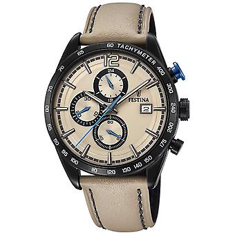 Festina Mens Sport Chronograph Cream Leather Strap Cream Dial F20344/1 Watch
