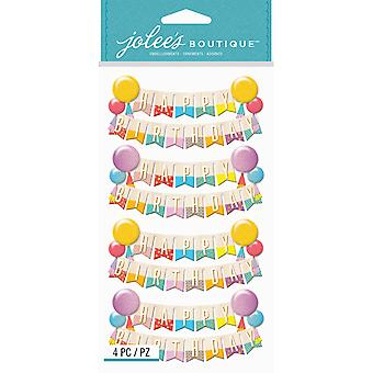 Jolee's Boutique Dimensional Stickers-Happy Birthday Banners