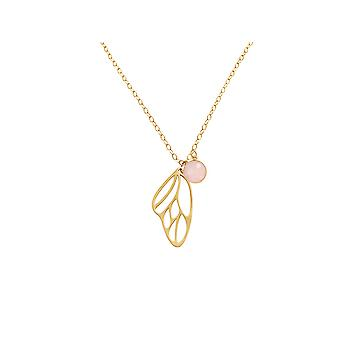 Gemshine - ladies - necklace - pendant - 925 Silver - gold plated - butterfly wings - Rose Quartz - pink - 45 cm