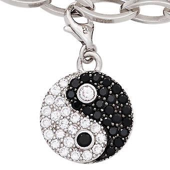 Rhodium-plated sterling silver cubic zirconia charms silver single trailer YING YANG 925