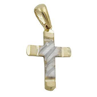 kleines Kreuzchen gold 375 Kreuzanhänger Anhänger, Kreuz bicolor, 9 Kt GOLD