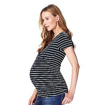 Noppies 66222 C165 Frauen Lely dunkelblau gestreift Mutterschaft Kurzarm-Top