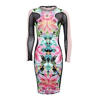 Neue Damen lange Mesh Ärmeln Floral Drucken Damen Bodycon Kleid