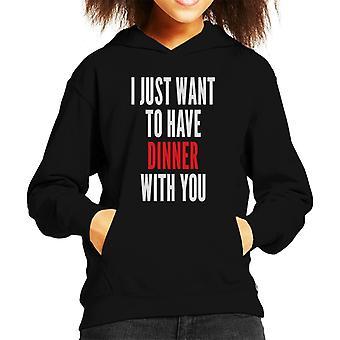 僕はただ君と一緒に夕食をとりたいんだ。イヴ・キッドのフード付きスウェットシャツを殺す