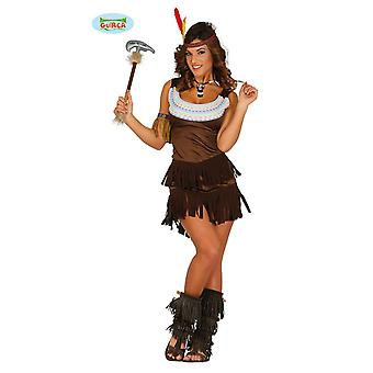 Indian dress Squaw Carnival theme party costume for ladies of Wild West Brown