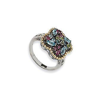 925 Sterling Silver Antique finition Avec 14k 1.59tw Multi Gemstone Ring - Taille de l'anneau: 6 à 8