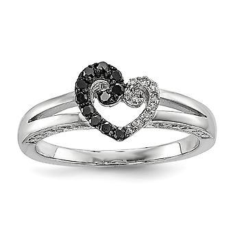 Sterlingsilber polierte Zinke legen Sie offen zurück Geschenk Box rhodinierten White und Black Diamond Heart Ring - Ring-Größe: 6