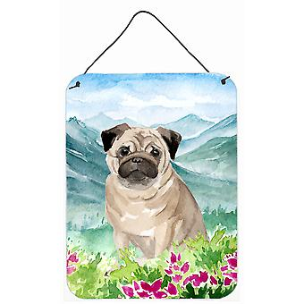Mountian Flowers Fawn Pug Wall or Door Hanging Prints