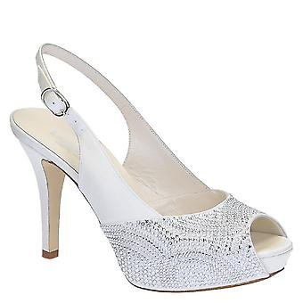 Slingback open toe bride platform sandals in white satin