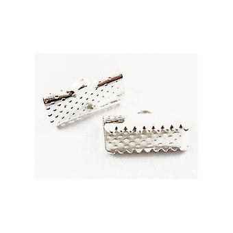 Packet 50+ Silver Tone Plated Iron Rectangle Ribbon Ends 7 x 13mm HA02532