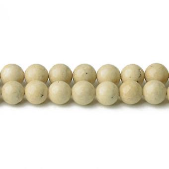 Strand 95+ Cream Riverstone 4mm Plain Round Beads CB34075-1