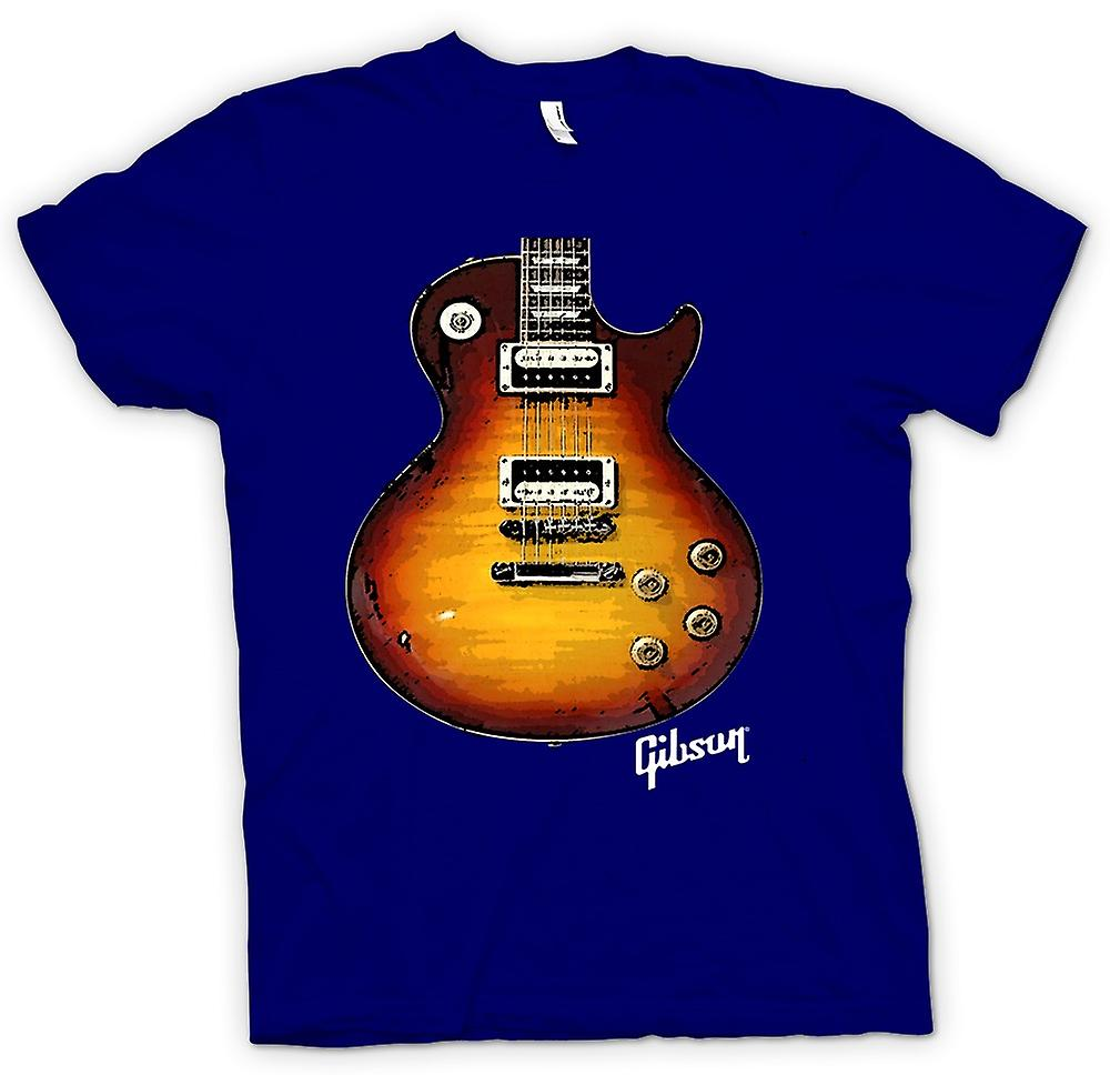 Mens T-shirt - Gibson Les Paul Guitar Gold - Muziek