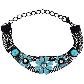 The Olivia Collection Girls-Ladies Black Mesh Bracelet with Blue Flower FJ219
