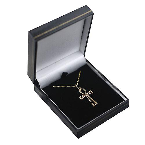 9ct Gold 28x17mm plain pierced Ankh or Peace Cross with a cable Chain 16 inches Only Suitable for Children