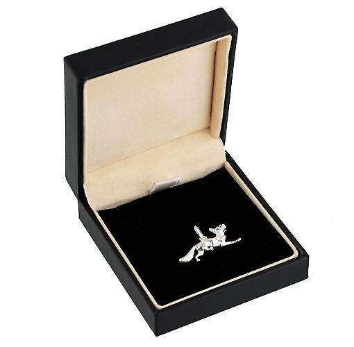 Silver 6x23mm running Fox pendant or charm