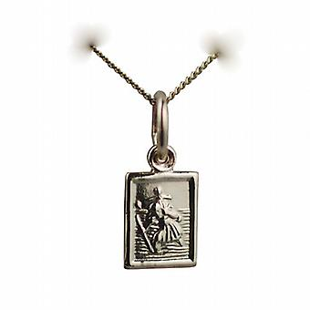 9ct Gold 8x6mm rectangular St Christopher Pendant with a curb Chain 16 inches Only Suitable for Children
