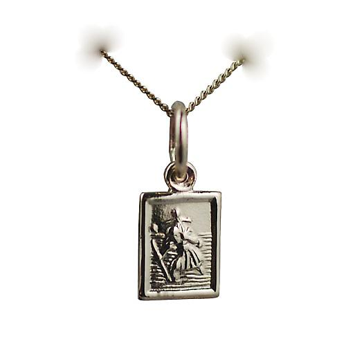 9ct Gold 8x6mm rectangular St Christopher Pendant with a curb chain