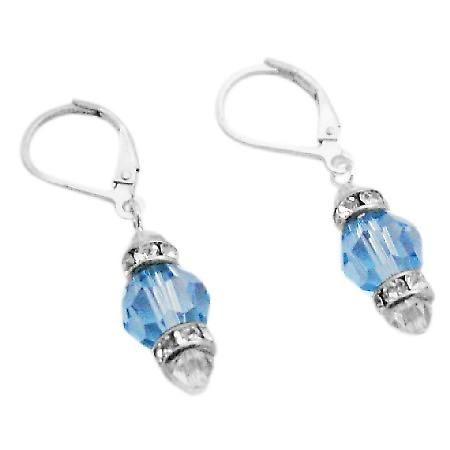 92.5 Silver Lever Back Earrings Swarovski Aquamarine Crystals Earrings