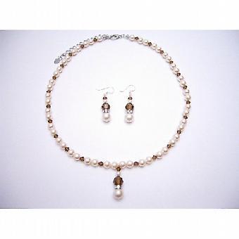 Ivory pärlor rökt topas brud Swarovski kristaller Rondells smycken 94d8ebbd66977