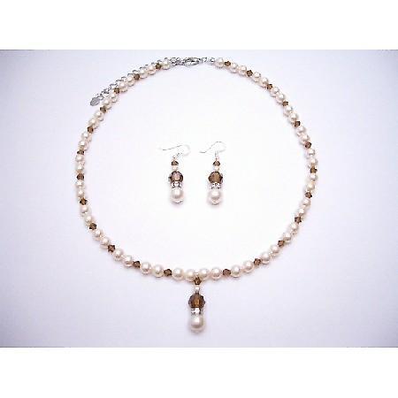 Ivory Pearls Smoked Topaz Bridal Swarovski Crystals Rondells Jewelry