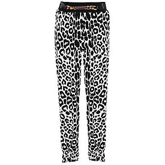 Children's Elasticated Waist Band Leopard Print Girls Gold Buckle Harem Trousers