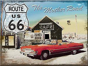 Route 66 Mother Road (Red Car) steel fridge magnet