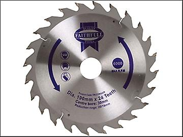 Faithfull Circular Saw Blade 190 x 16/20/30mm x 24T Fast Rip