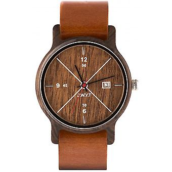 Watch D.W.Y.T DW-00203-5012 - Leman dater Wood Leather Brown man