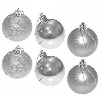 Christmas Tree Baubles 40mm Glitter Shiney Matt Decoration Silver Pack of 36 (4157SL)