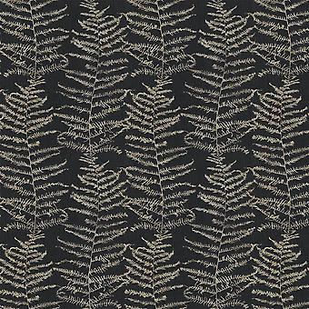 Fern Tree Wallpaper Leaf Leaves Black Silver Glitter Metallic Shimmer Erismann