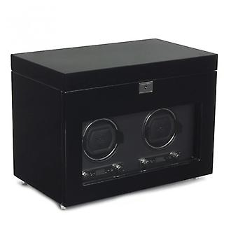 Wolf Designs Savoy Black Wood & Chrome Double Watch Winder 2.7 With Storage