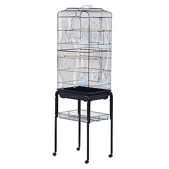 PawHut Large Pet Bird Cage Parrot Cockatiel Metal Perch House Macaw Finch Swing Rolling Stand Black