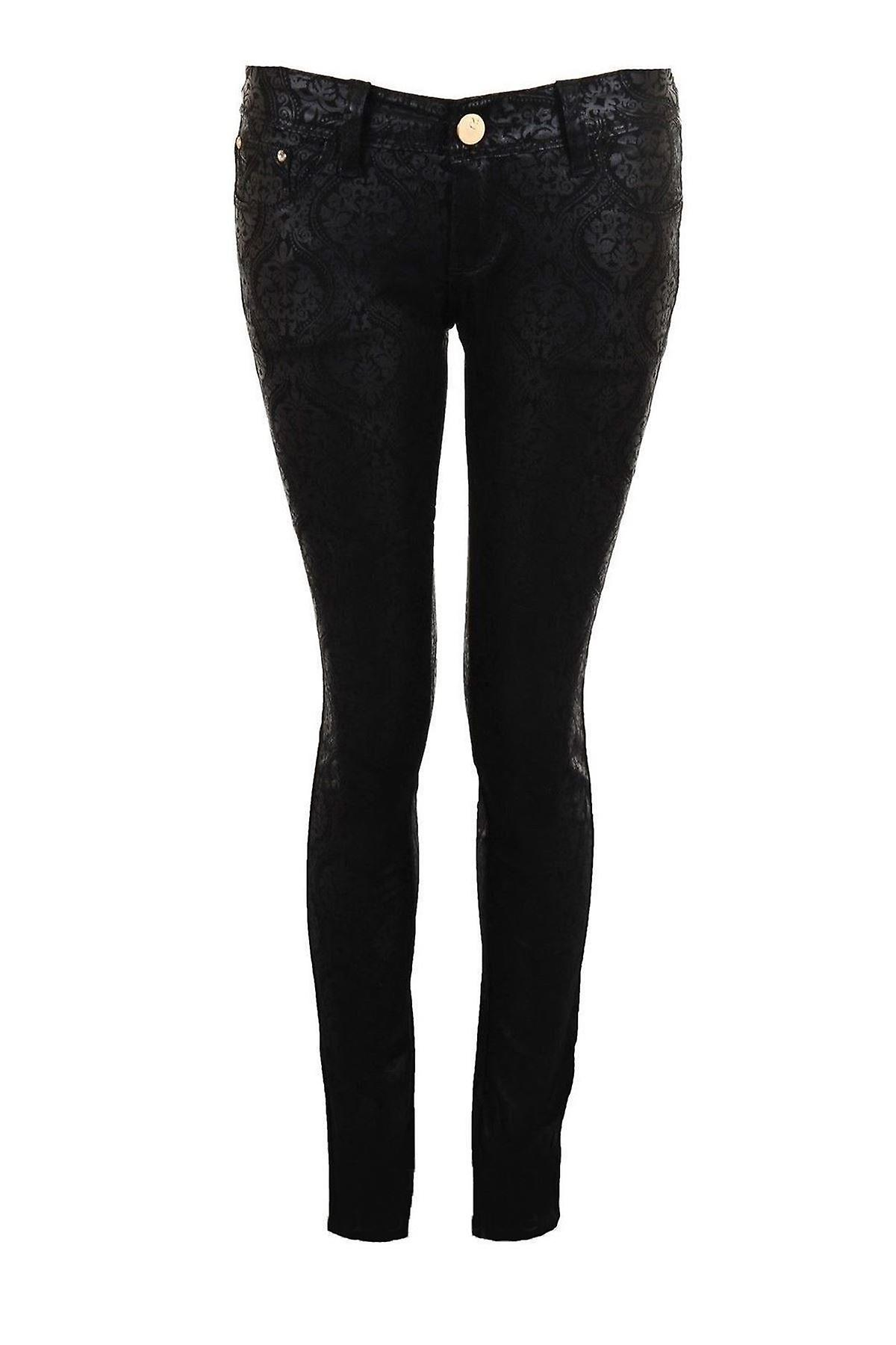 Ladies Self Print Black Diamond Button Skinny Tight Fit Women's Jeggings Jeans