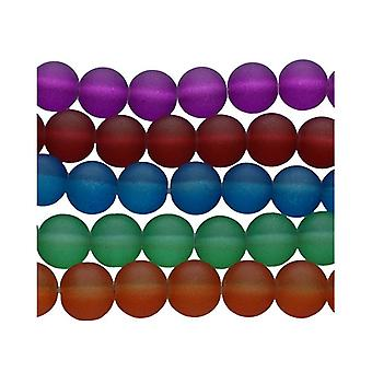 Packet 500+ Mixed Glass 8mm Frosted Plain Round Beads Y04700