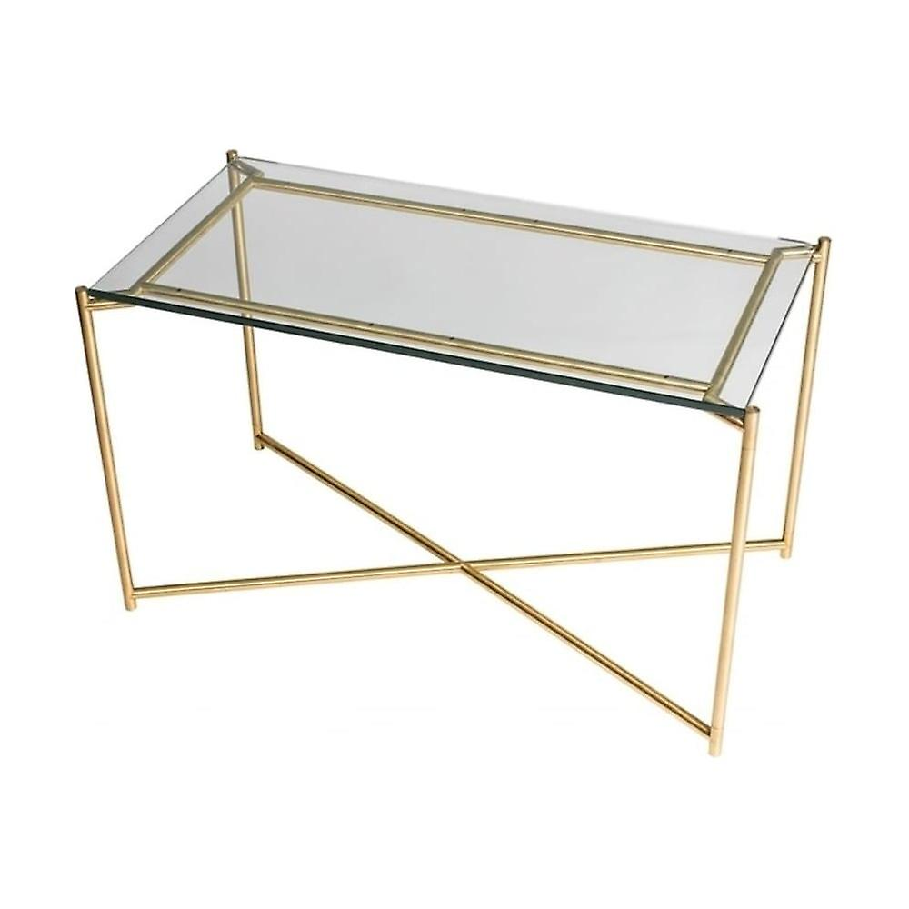 Gillmore Space Clear Glass Rectangular Side Table With Brass Cross Base