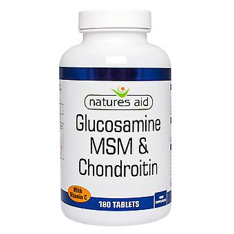 Natures Aid Glucosamine 500mg MSM 500mg + Chondroitin 100mg (with Vit C) , 180 Tablets